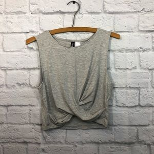 Divided by H&M gray twist front crop top